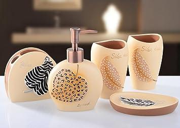 yiyida Durable Resina baño Set 5pcs en Mar playa estilo vaso jabonera  dispensador de jabón líquido para cepillos de dientes (  Amazon.es  Hogar b074ba8391db