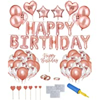 Party Supplies, Birthday Party Decoration with Happy Birthday Banner, Rose Gold Swirls, Cake Cupcake Topper, Heart Star…