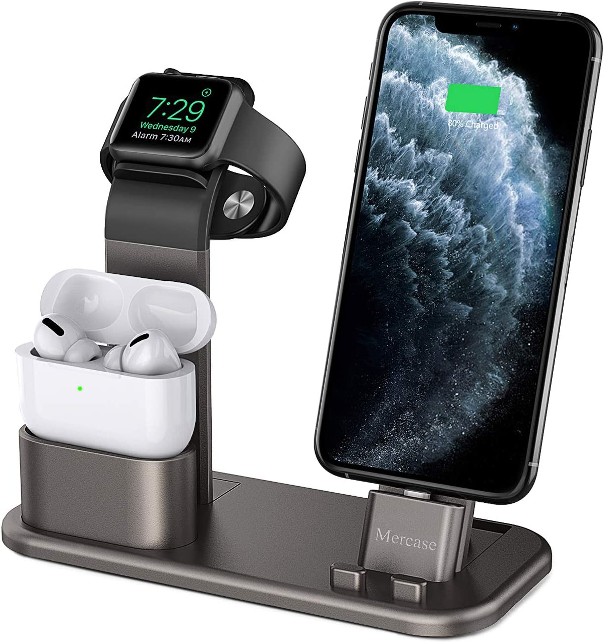 Mercae Compatible for Charging Station Apple 3 in 1 Aluminum Stand for Apple Watch/iPhone and Airpods Pro,Charger Stand Dock Station for Apple iWatch Series 1/2/3/4/5/6/SE iPhone 11/11 Pro/Pro MAX