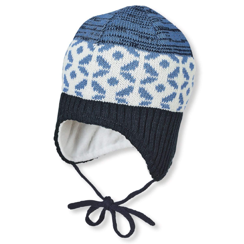 Sterntaler Marine blau beige Baby Jungen Strickm/ütze zum Binden mit Muster und Baumwollfleece-Futter 4701945