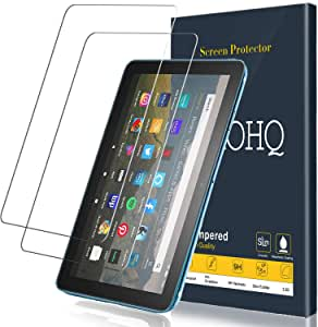 [2 Pack] QHOHQ Screen Protector for New HD 8/HD 8 Plus/HD 8 Kids Tablet 8 Inch (10th Generation,2020 Release),Tempered Glass Film,9H Hardness-HD-No Bubbles-Anti-Fingerprint-Anti-Scratch
