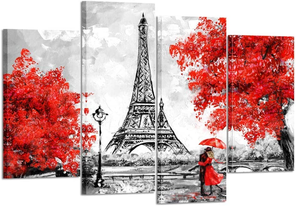 Kreative Arts 4 Panel Canvas Wall Art Black White and Red Umbrella Couple in Street Eiffel Tower Oil Painting Printed on Canvas Romantic Picture Framed Artwork Prints for Walls Decor 48x33inch