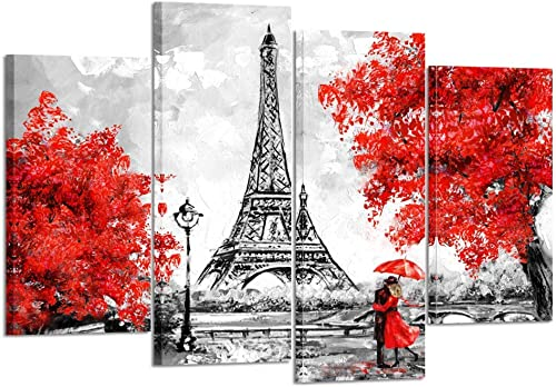 Kreative Arts 4 Panel Canvas Wall Art Black White and Red Umbrella Couple