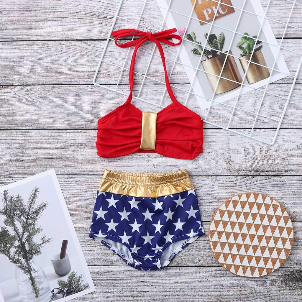 a0d5fe36707 Amazon.com: Boomboom 2019 Baby Girls Swimwear Striped Straps Swimsuit High  Waist Shorts Bathing Suits: Clothing