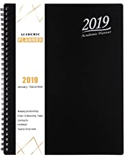 """2019 Planner - Academic Weekly, Monthly and Yearly Planner with Tabs, Flexible Cover with Julian Dates, Twin-Wire Binding, 8.25"""" x 10"""" - Black"""