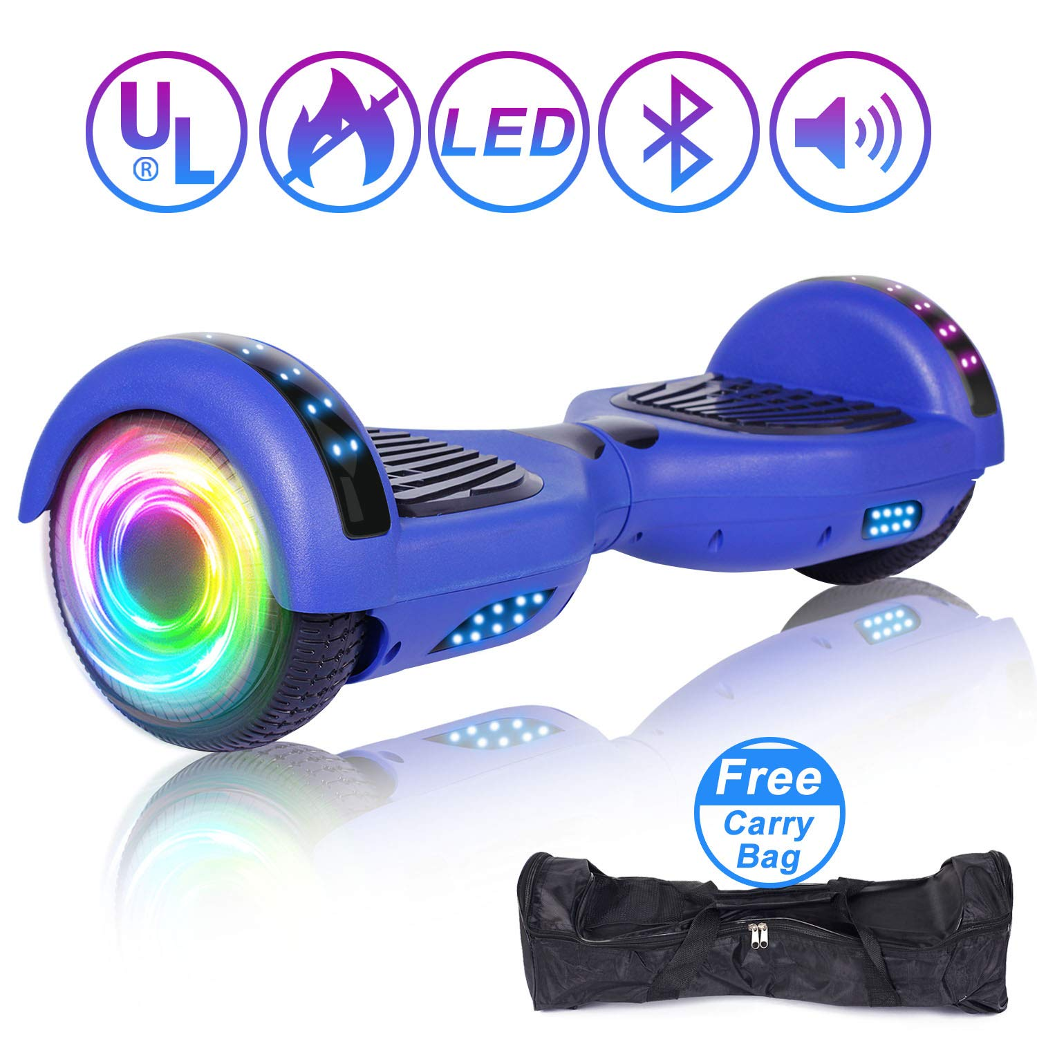 SISIGAD Hoverboard 6.5'' Self Balancing Scooter with Colorful LED Wheels Lights Two-Wheels self Balancing Hoverboard Dual 300W Motors Hover Board UL2272 Certified(Free Carry Bag Available)