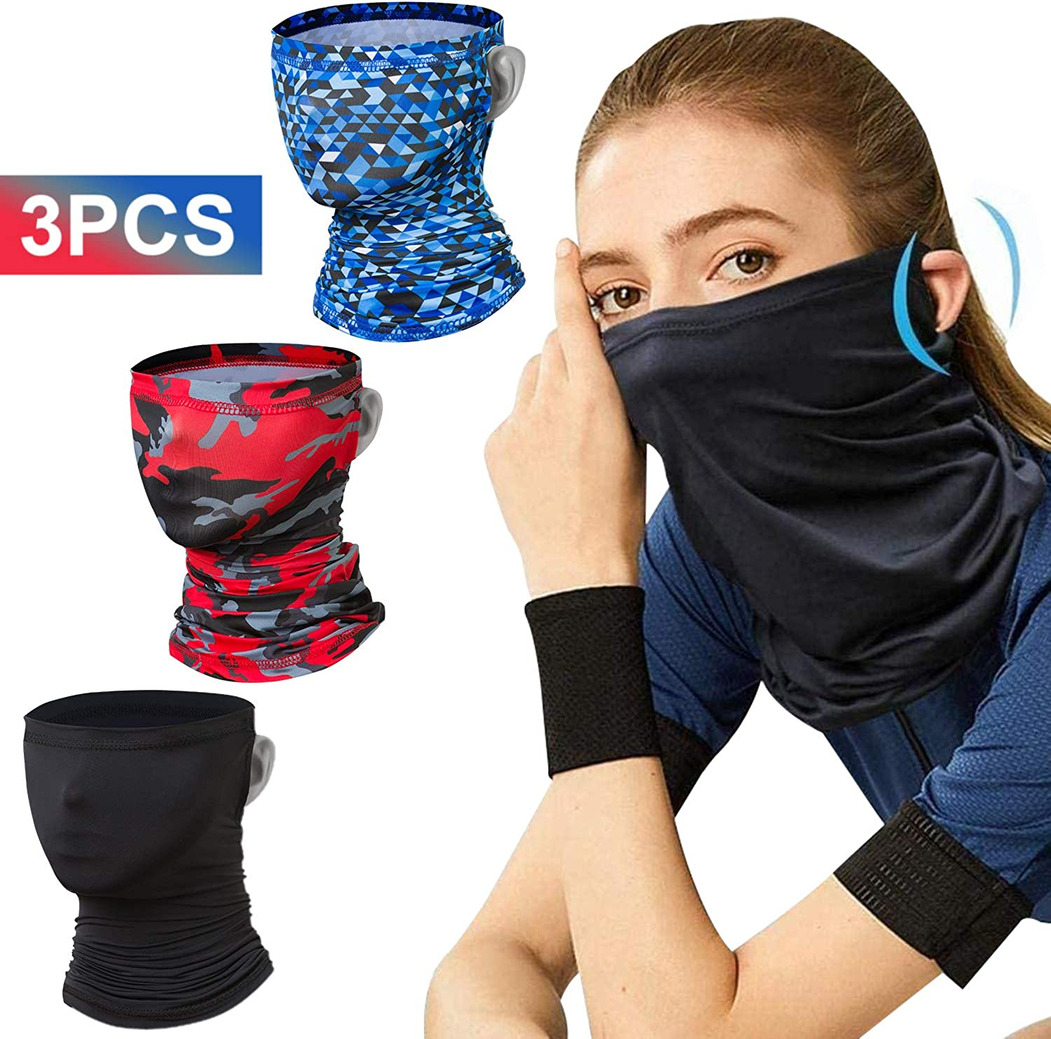 TOOVREN 3 PCS Cooling Face Cover Bandana Neck Gaiter Summer Balaclava Women/Men, Multifunctional Headwear Breathable Face Scarf for Outdoor Sport