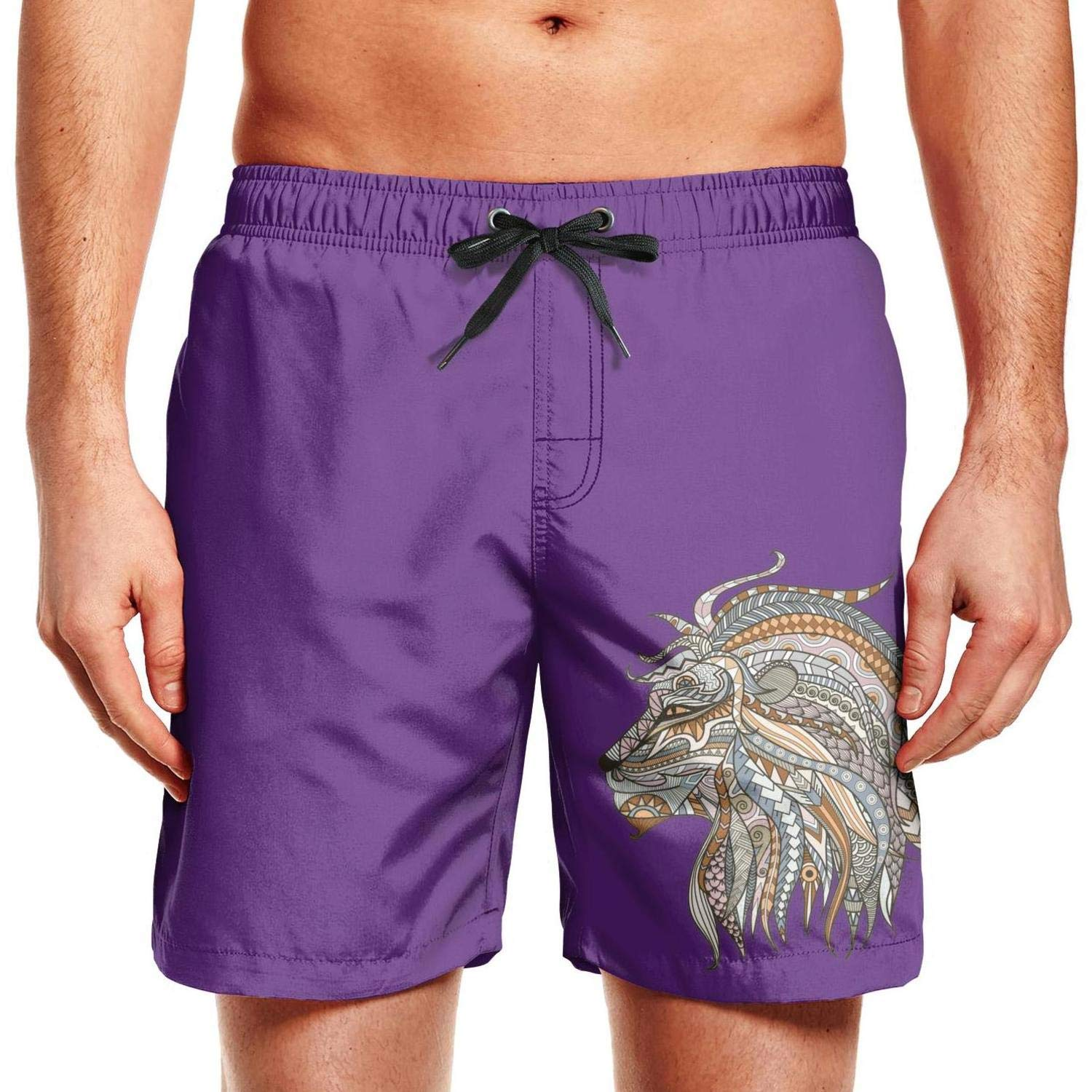 SADAFDS Big Cool Lion Painting Mens Swimming Trunks Ruched Printed Workout Shorts