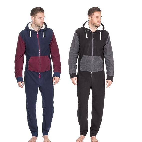 62f830a81ed9 ONEZEE Adult Men s Contrast Jumpsuit - Sherpa Fleece Lined Hooded Sleepsuit  Multibuy-1 S-M