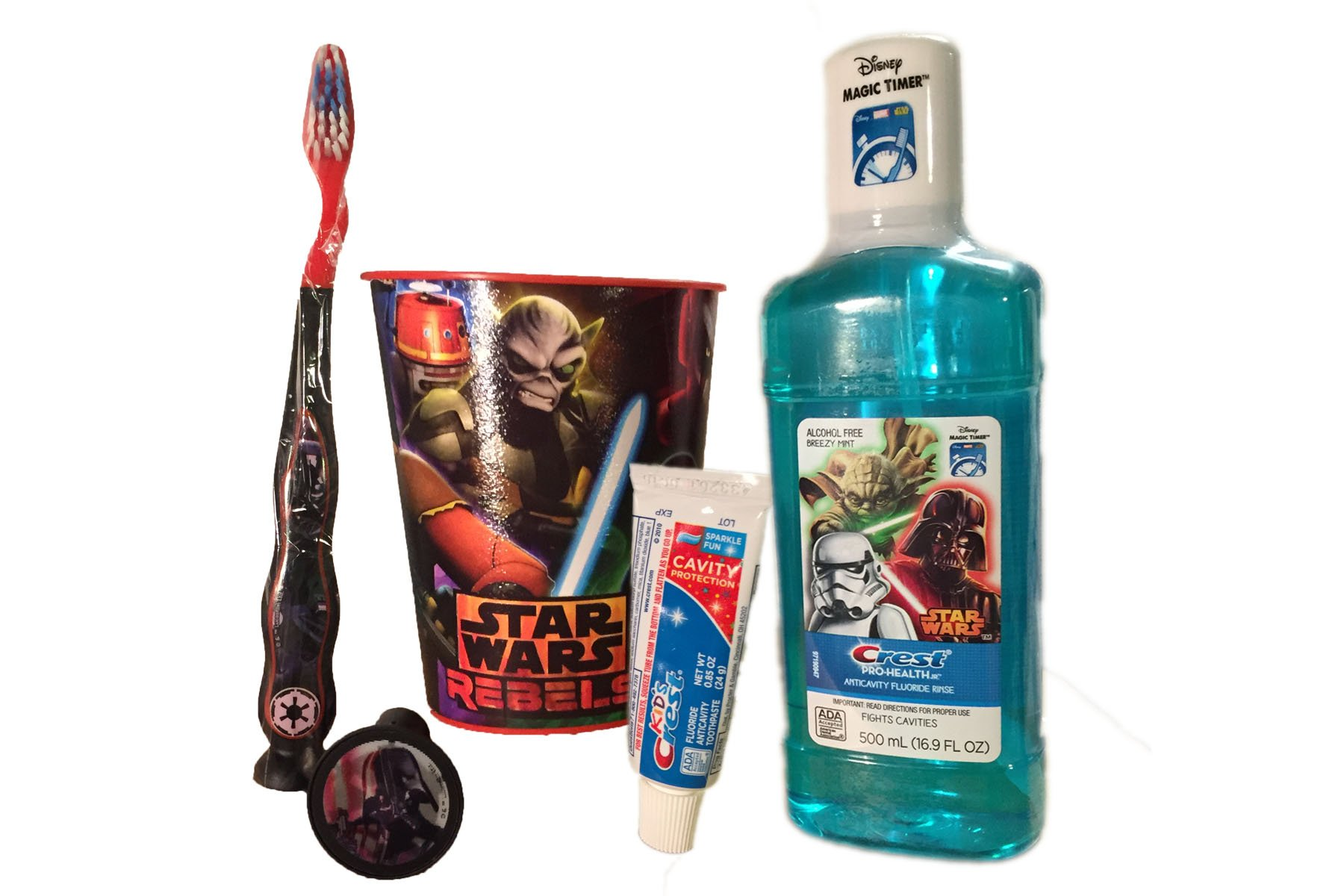 Star Wars 5pc Darth Vader Travel Toothbrush Set. Firefly Manual Toothbrush, Toothbrush Cap, Travel Size Kids Crest Toothpaste, Crest Alcohol Free Mouth Rinse, bonus 16oz Star Wars Mouth Rinse Cup.