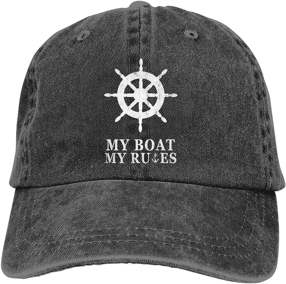 NVJUI JUFOPL Men's My Boat My Rules Baseball Cap Vintage Washed Adjustable Funny Dad Hat