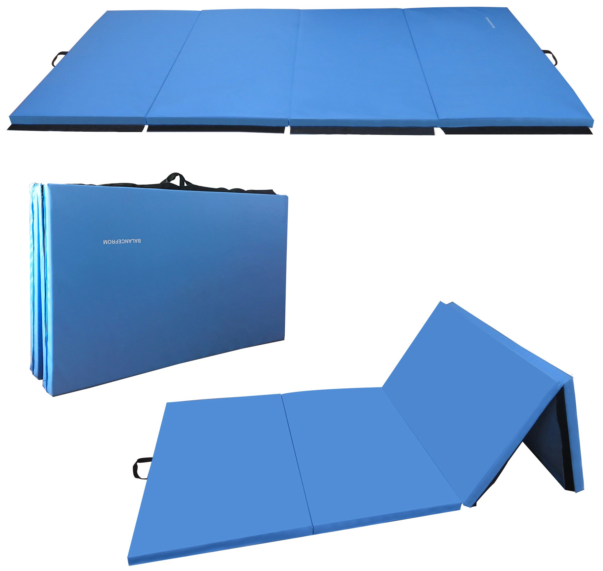 BalanceFrom GoGym All-Purpose 4'x10'x2 Extra Thick High Density Anti-Tear Gymnastics Gym Folding Exercise Aerobics Mats (Blue)