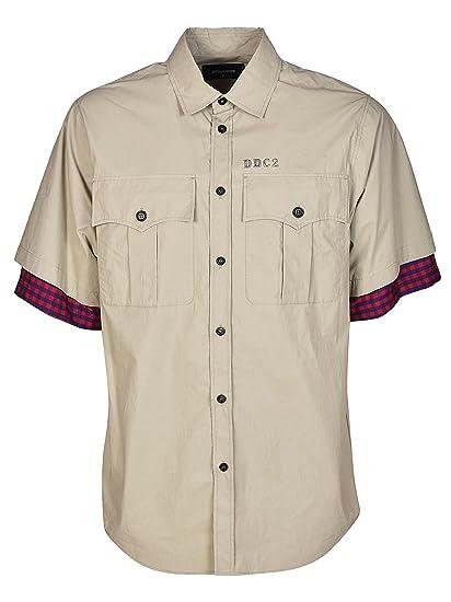 0df0e5810f459 DSQUARED2 Coated Cotton Shirt Beige Uomo  Amazon.co.uk  Clothing
