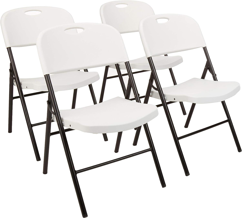 AmazonBasics - Silla de plástico plegable, capacidad de 157,5kg, blanco, set de 4