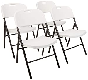 AmazonBasics Folding Plastic Chair, 350-Pound, Capacity, White, Set of 4