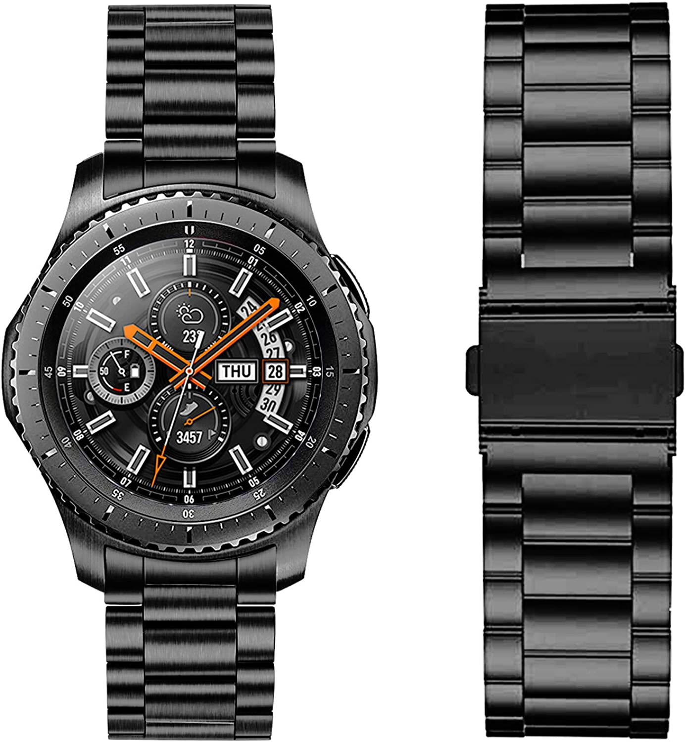 Kartice Metal Bands Compatible with Samsung Galaxy Watch 46mm Bands Gear S3 Band 22mm No Gaps Solid Stainless Steel Metal Watch Bands for Samsung Galaxy Watch 46mm Band
