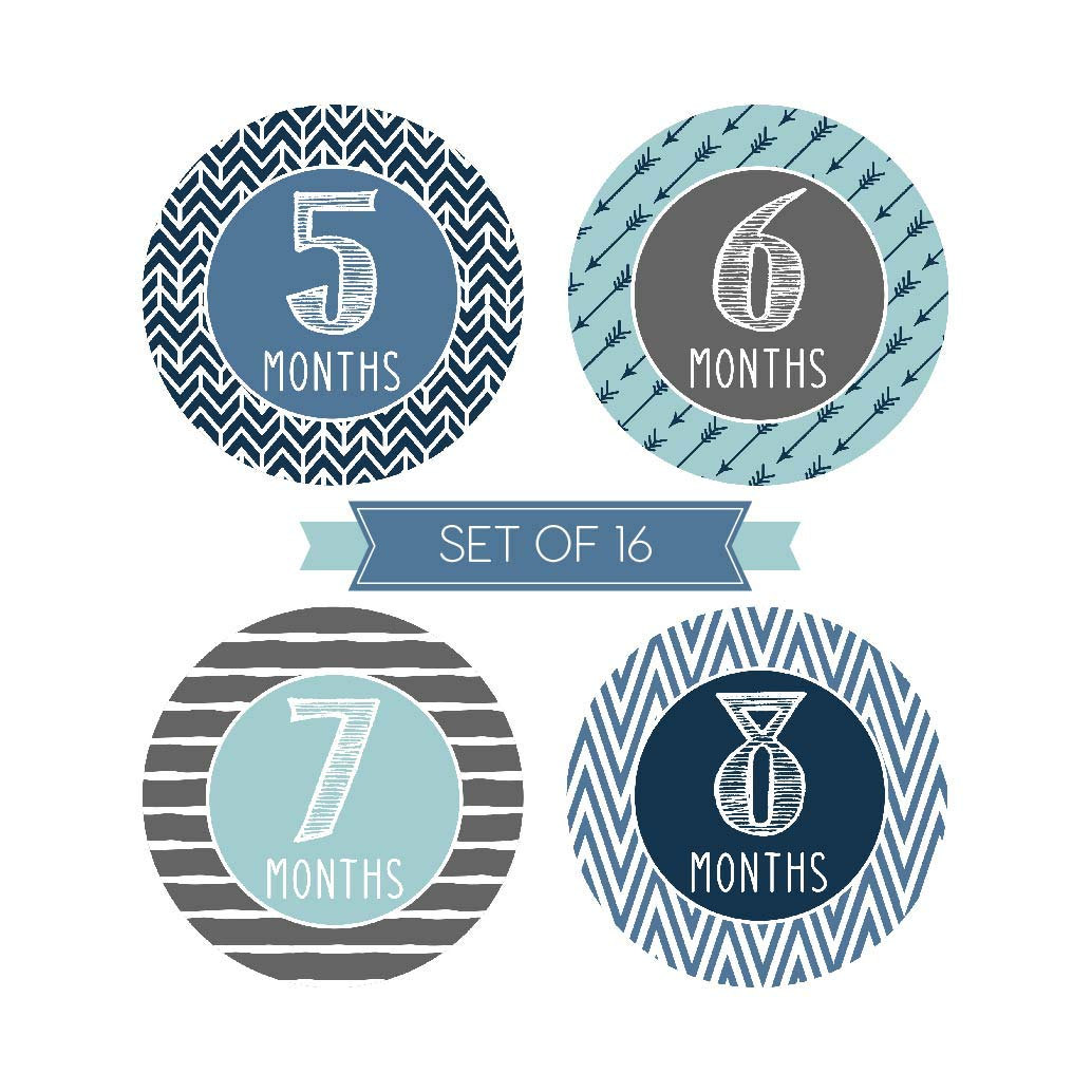 16in1 PAMBO Infant Age Belly Chalk Stickers Scrapbook Photo Keepsake//Shower Gift Idea Monthly Baby Stickers Waterproof Newborn Boys Girls Milestone Stickers