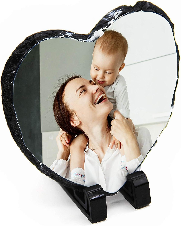 15cm Add Your Own Photo Dalton Designs UK Personalised Heart Shaped Matte Photo Rock Slate
