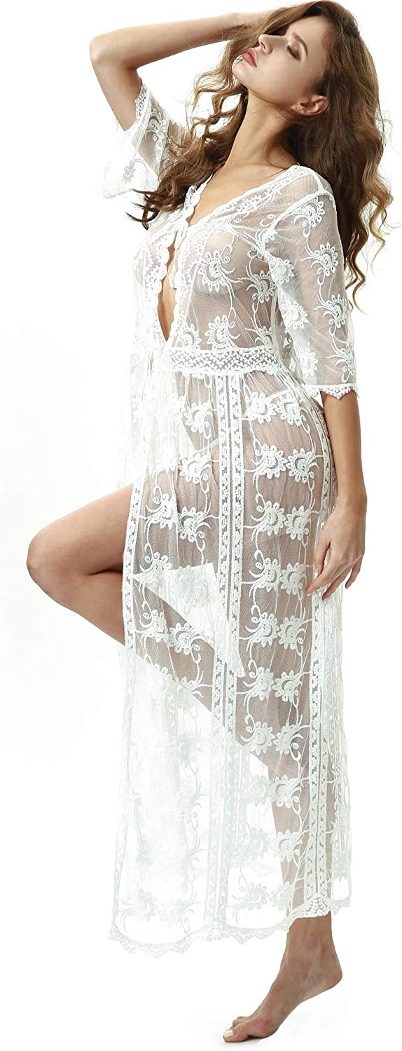 TOUSYEA Lingerie for Women Lace Kimono Robe Sheer Long Nightgown Lace Cardigans Swimsuit Cover Ups Maxi Beach Dress