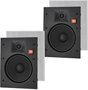 "JBL LAE8I 8"" in-Wall Speakers 2-Way Frameless Design with White Magnetic Grille - (2 Pack)"