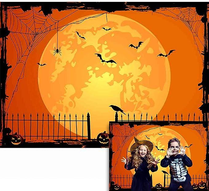 OERJU 8x6ft Happy Halloween Backdrop Full Moon Scary Trees Jack Pumpkin Lantern Background Halloween Theme Party Decorations Newborn Baby Shower Vinyl Wallpaper Kids Adults Portrait Photo Props