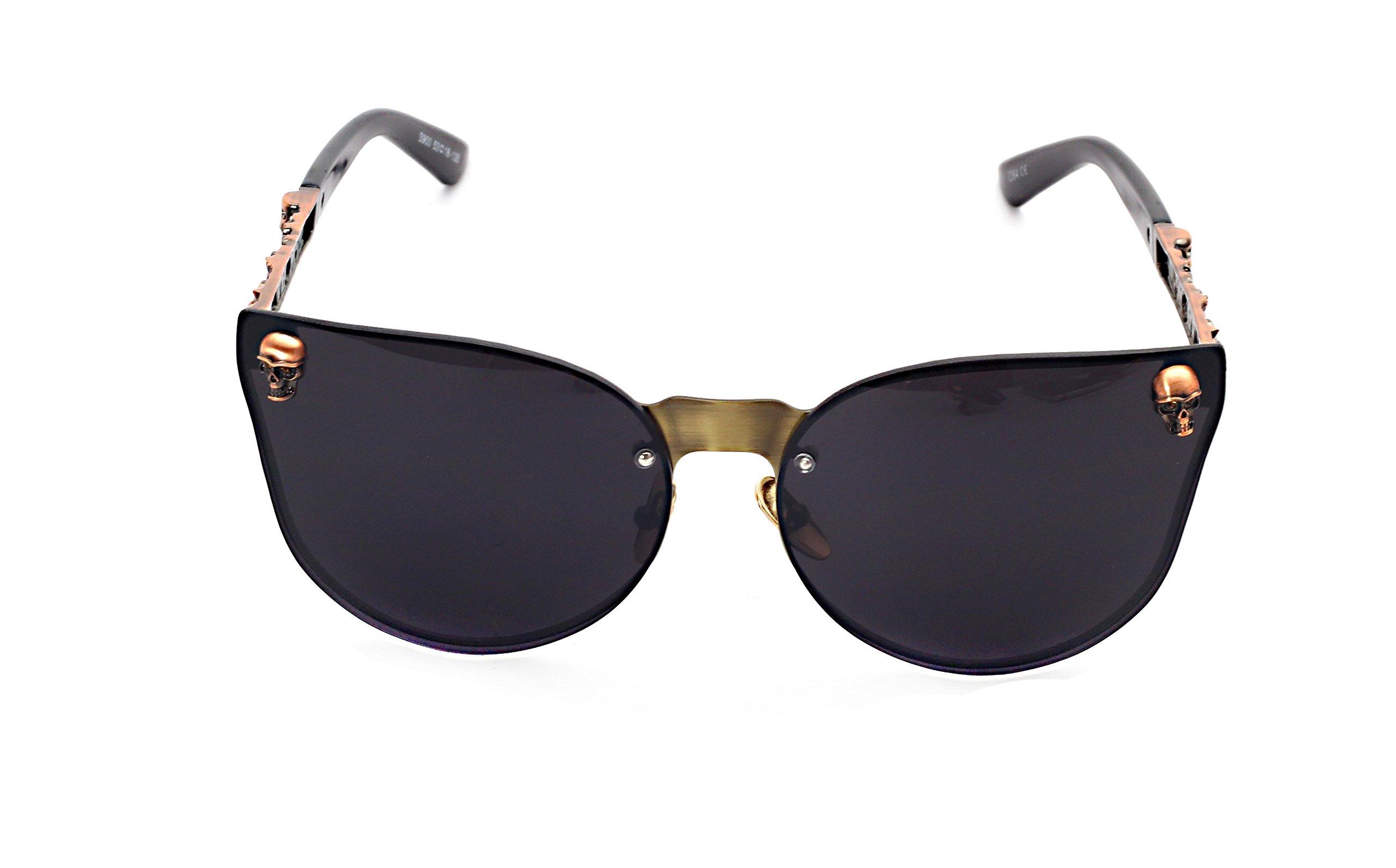 Women's Metal Half Frame Semi-Rimless Cateye Skull Studded Sunglasses - UV400 by Pession (Image #2)