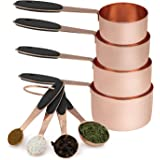 Cook with Color 8 Piece Copper Measuring Cups and Measuring Spoon Set Stainless Steel with Soft Touch Silicone Handles…