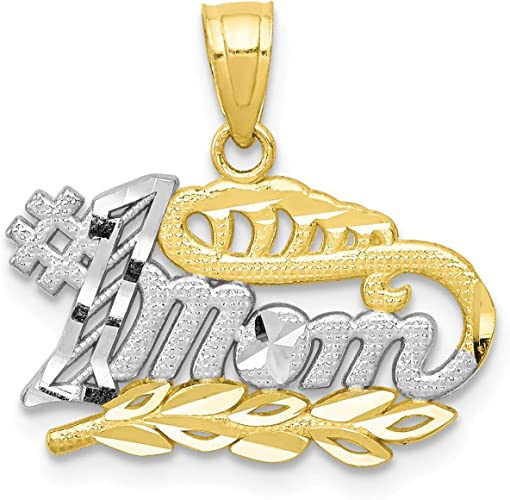 Silver Yellow Plated #1 Mother Charm 20mm
