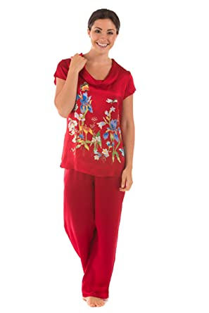 TexereSilk Women s Luxury Silk Pajama Set - Elegant PJs (Butterfly Garden e8f9b3caa