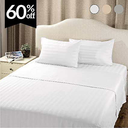 Beau Bedsure Striped Bedding Sheet Set Queen Plain White 4 Piece With Deep  Pocket Fitted Sheet