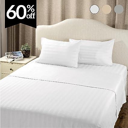 Beau Bedsure Striped Bedding Sheet Set Queen Plain White 4 Piece With Deep  Pocket Fitted Sheet