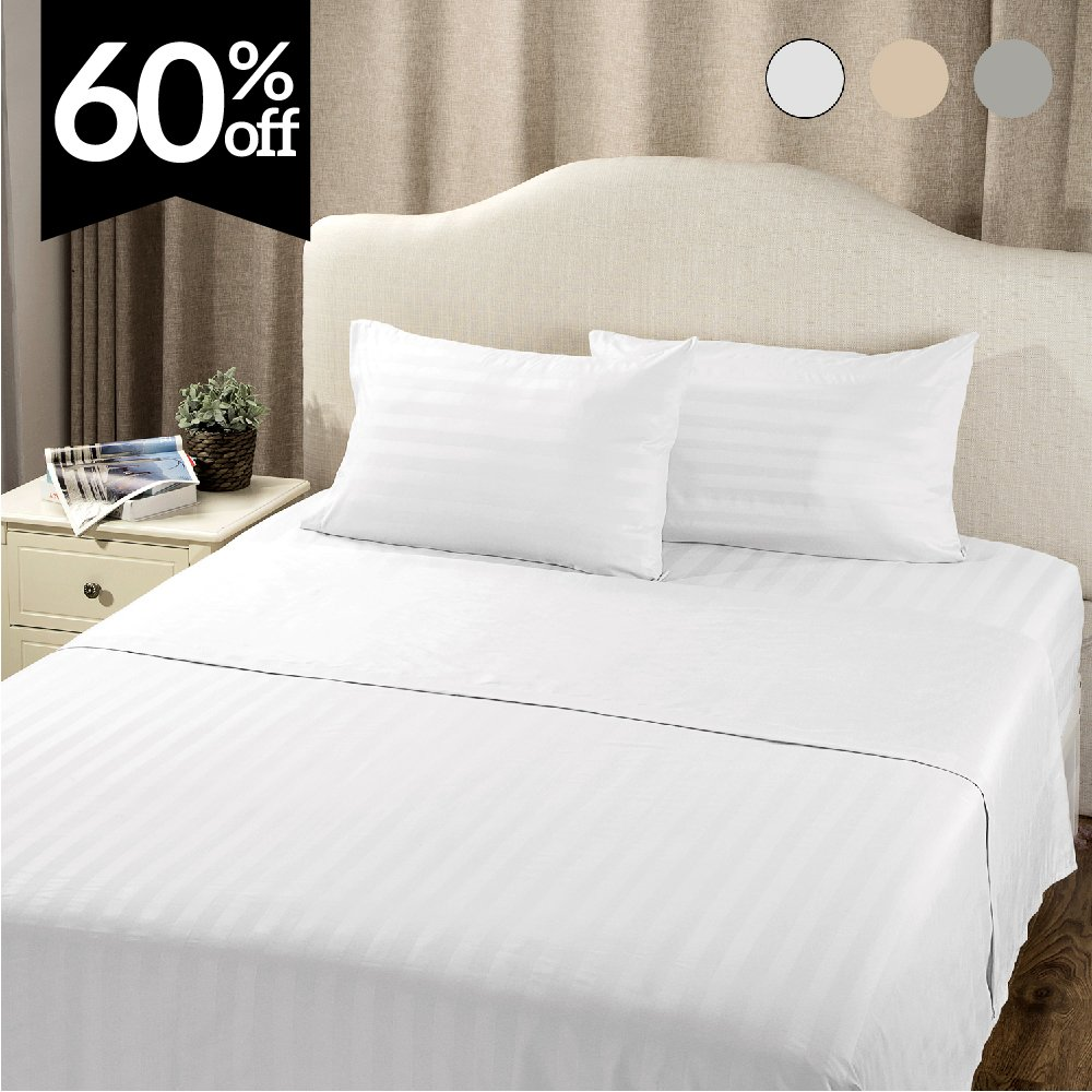 Striped Bedding Sheet Set Queen Plain White 4-Piece with Deep Pocket Fitted Sheet by Bedsure