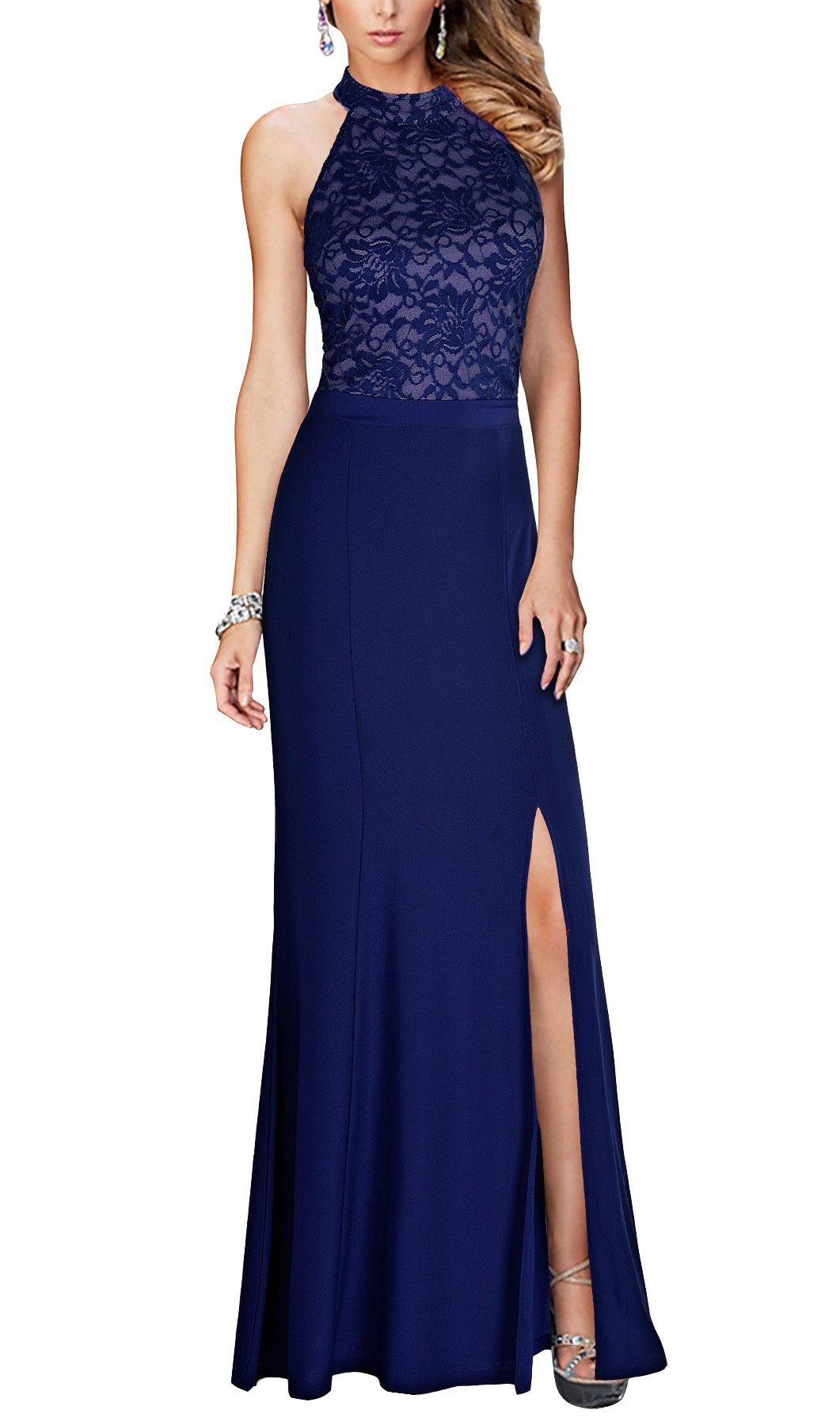 REPHYLLIS Women's Halter Floral Lace Vintage Wedding Maxi Long Dress (S, Blue)