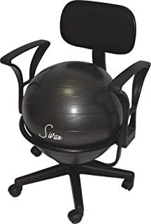 Sivan Health and Fitness Arm Rest Balance Ball Low Fit Chair with Ball and Pump