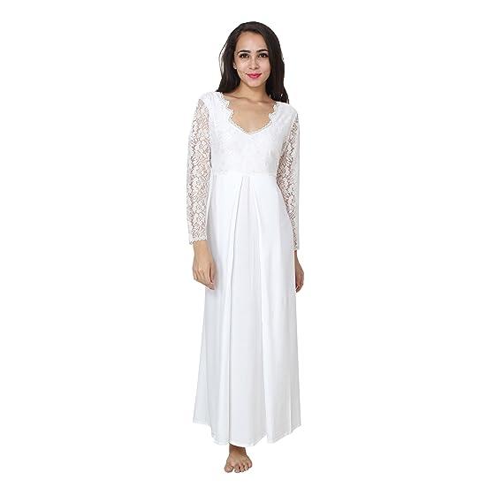 c7f512046e Patrorna Women s Blouseon Maternity Nighty Night Dress Gown in White (Size S