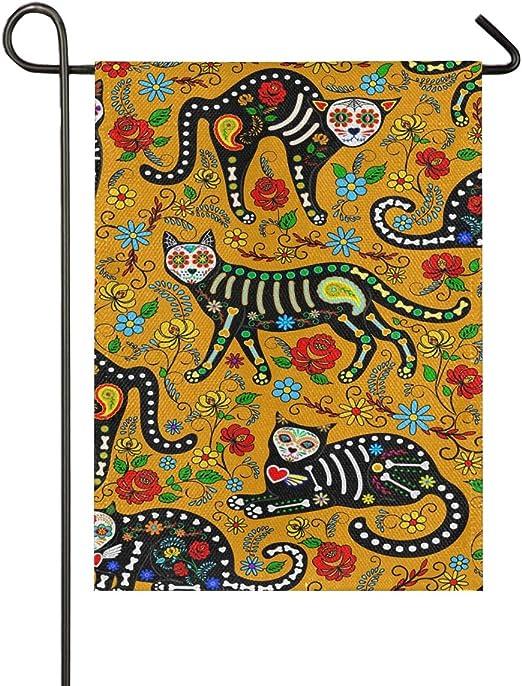 Decoración Jardín Bandera Interior Patio de Doble Cara Exterior 28x40 Pulgadas Resumen Dibujos Animados Gato Esqueleto Flor Colorida Bandera: Amazon.es: Jardín