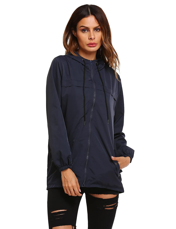Meaneor signore Polka Dots /Übergangsjacke impermeabile impermeabile con cappuccio tasca pioggia Parka pioggia Mac impermeabile traspirante