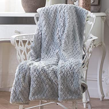 Sable Throw Blanket Faux Fur Fleece Soft Plush Warm, Queen Size 60  x 80 , Grey