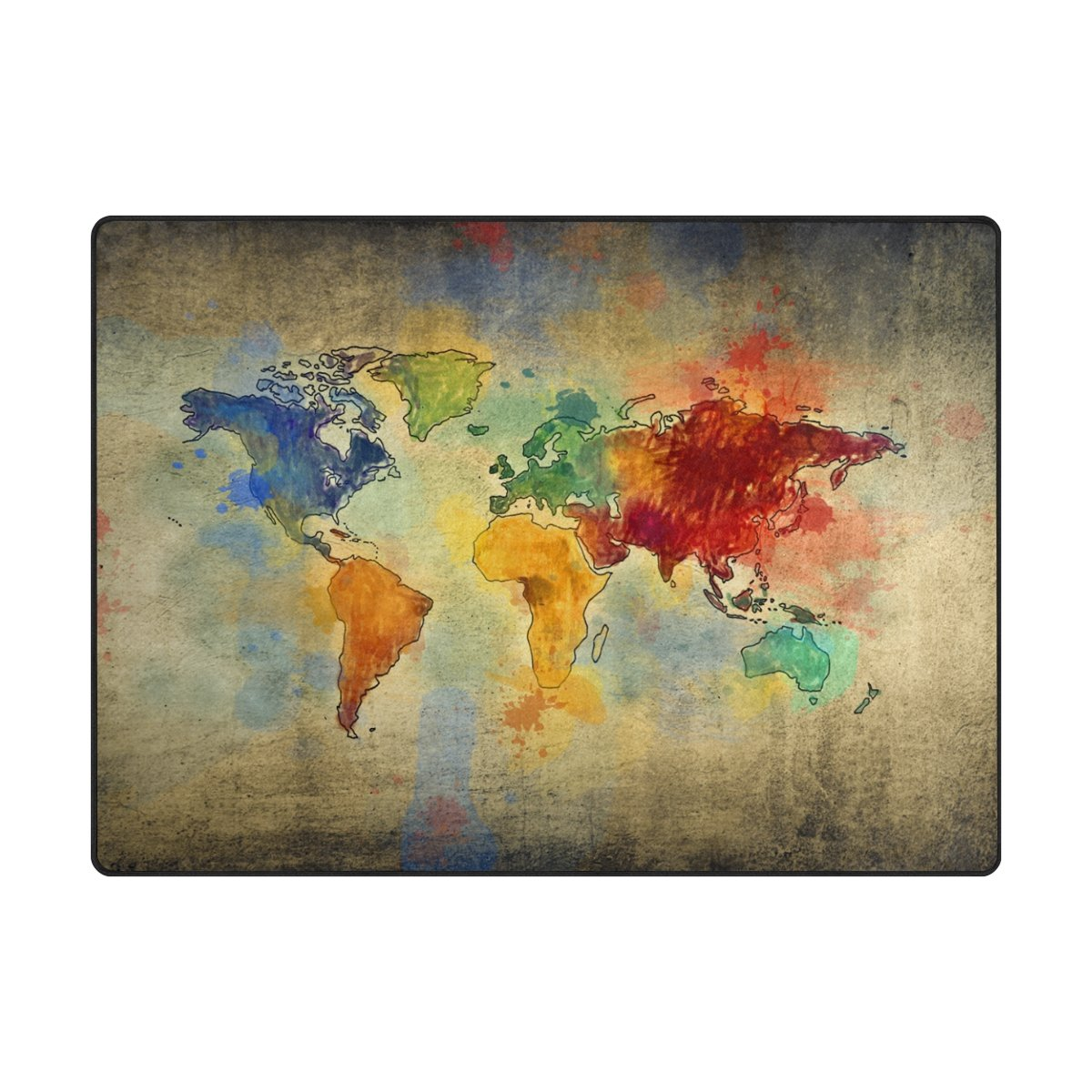 INGBAGS Super Soft Modern Vintage World Map Area Rugs Living Room Carpet Bedroom Rug Children Play Solid Home Decorator Floor Rug Carpets 63 x 48 inch