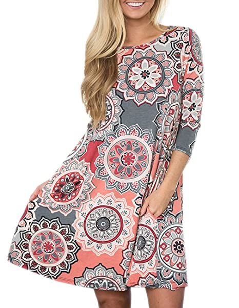 a128f6cc96286 Women s 3 4 Sleeve Damask Floral Printed Tunic Dress Bohemian Swing Casual  Midi Dress with