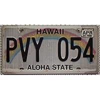USA Nummernschild HAWAII ~ US Kennzeichen Regenbogen Motiv ALOHA ~ Blechschild