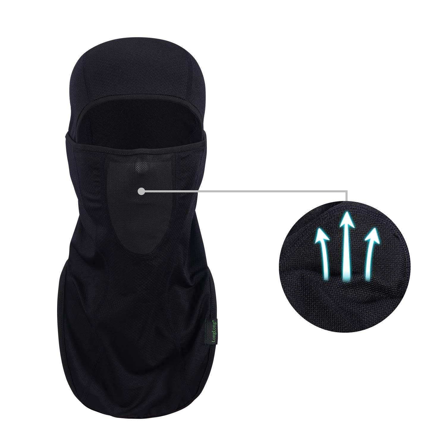 LONGLONG Balaclava - Sun Protection Mask Windproof, Dust & Breathable Summer Full Face Cover for Cycling, Hiking, Motorcycle (Black)