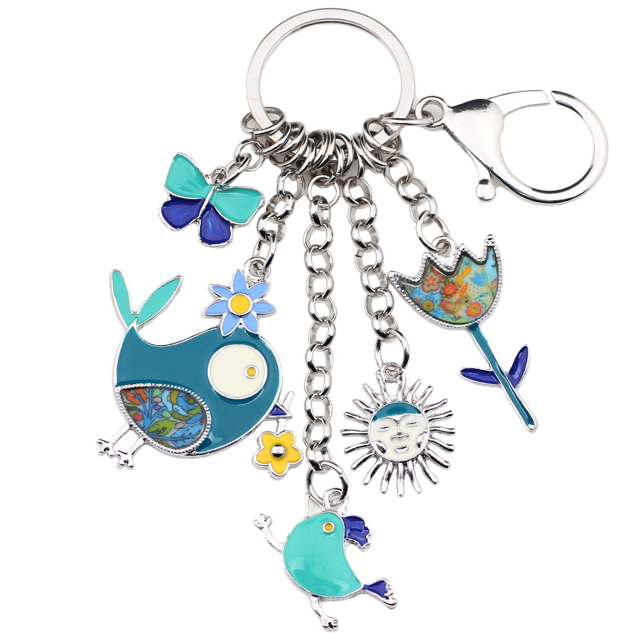 Bonsny Enamel Zinc Alloy Birds Flower Butterfly Key Chains Keyrings For Women Handbag Car Key Charms (Blue)