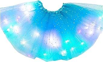 Tancyechy Kids Girls LED Light Up Glitter Star Sequins Ballet Dance Tulle Tutu Skirt 3-12T Tutu Skirt Brown