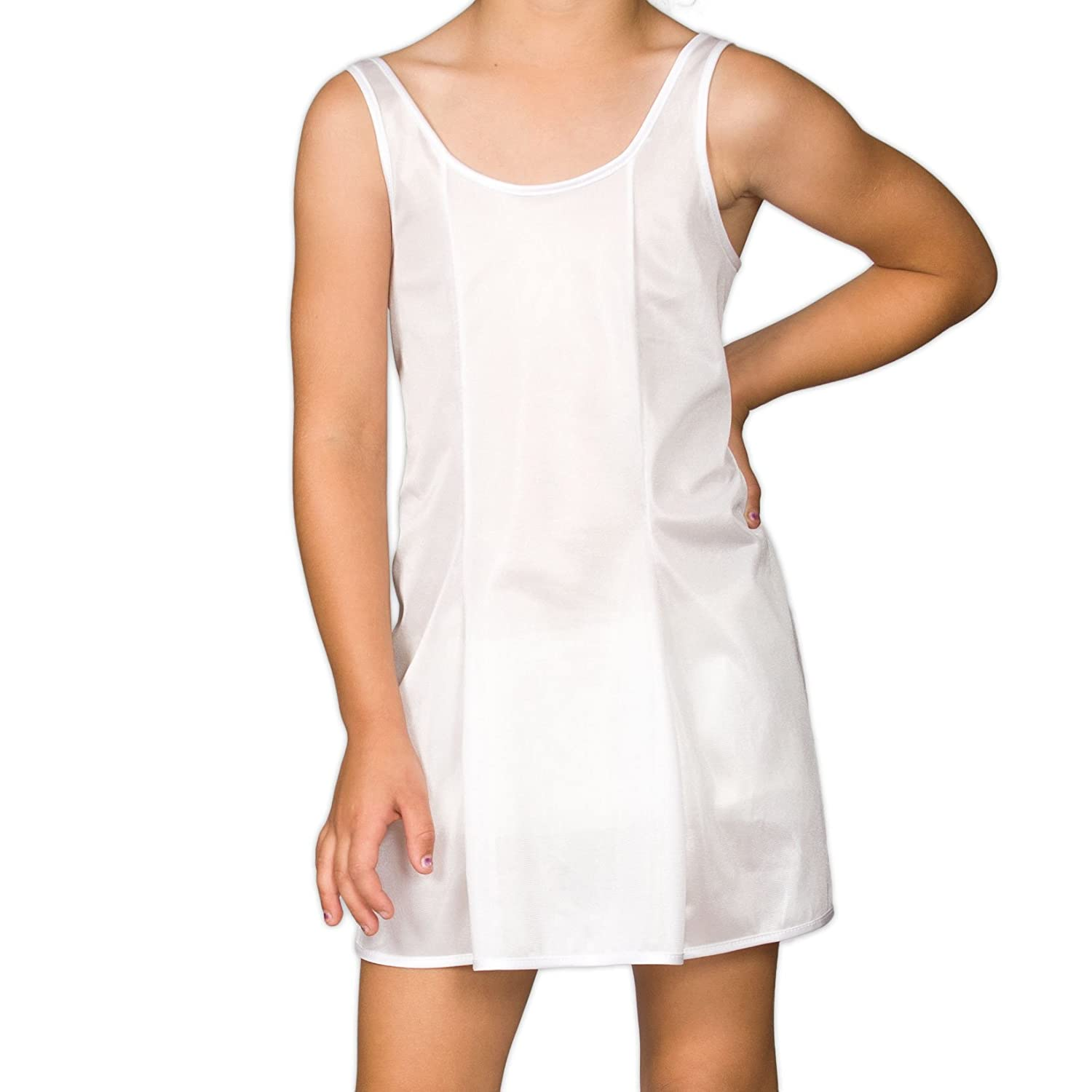I.C. Collections Big Girls White Sleek Nylon Slip, 8 New ICM 000420-WHC