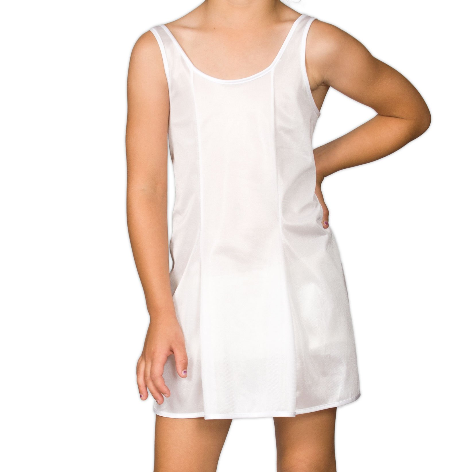 I.C. Collections Big Girls White Sleek Nylon Slip, 8