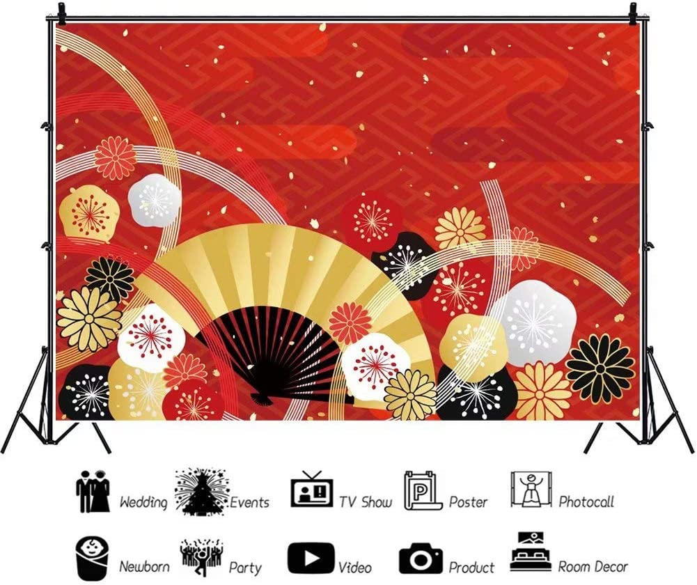 DaShan 12x8ft Japanese Cherry Blossom Backdrop Spring Japan Tradition Flower Birthday Party Decor Photography Background Japan Floral Wedding Party Banner Kids Adult Photo Studio Props