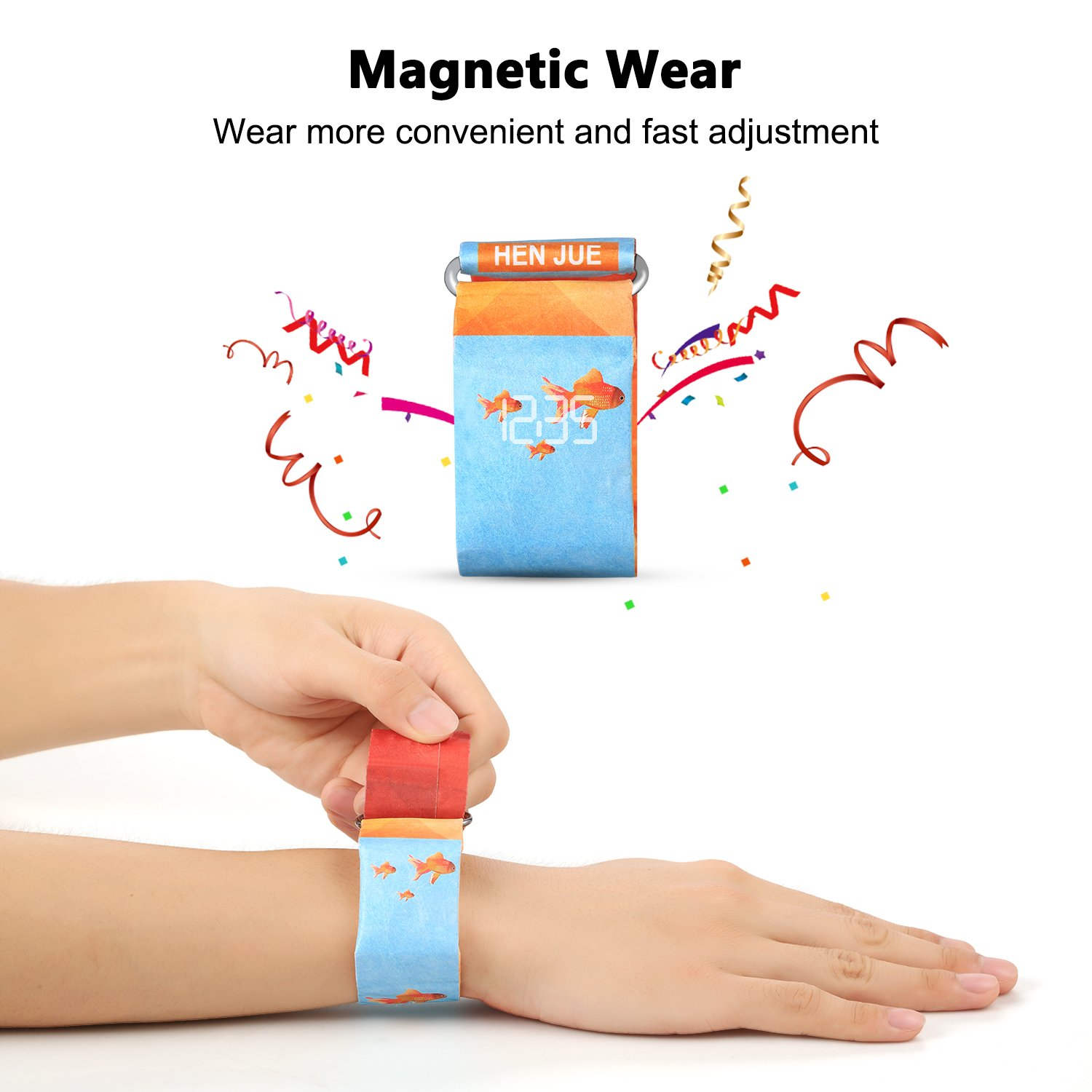 Digital Wrist Watch, Cinsey Waterproof Paper Watch with Magnetic System for Men, Women, Boys, Girls and Kids. Super Light Durable Creative Smart Watch