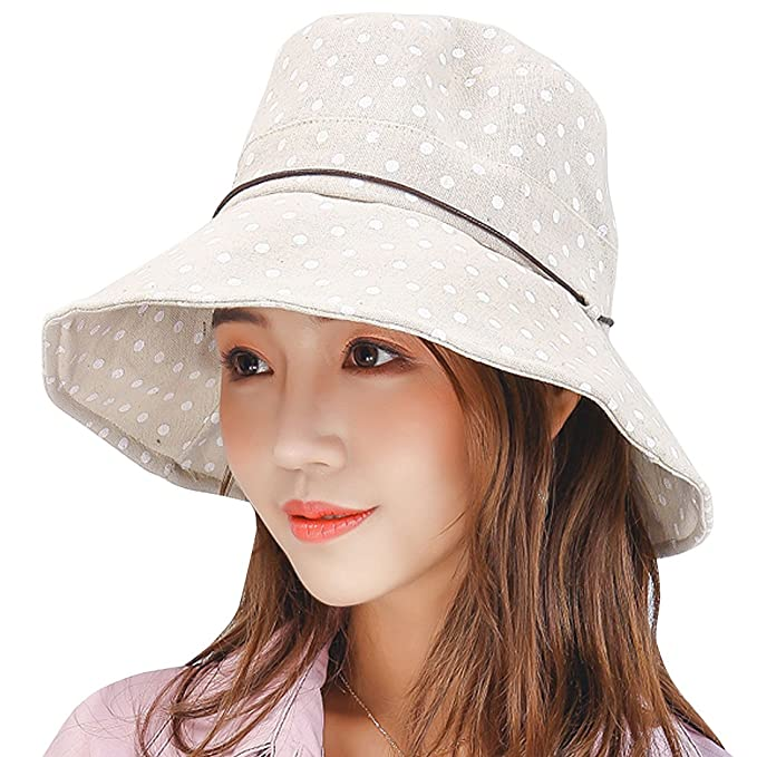 YOYEAH Summer Beach Sun Hats Reversible UPF 50+ Protection Hat Foldable  Wide Brim Cap Beige 13172a7e1a4a