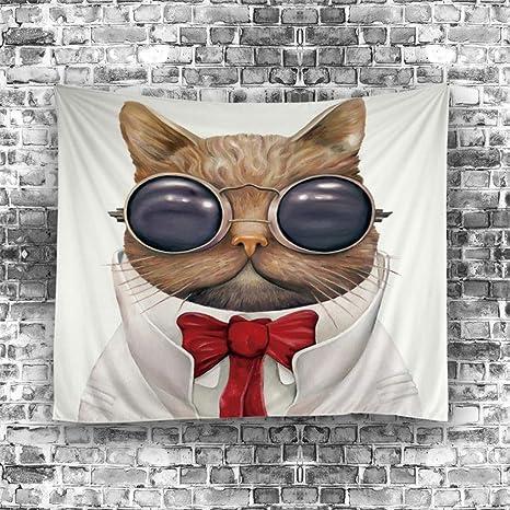 sytx – tapiz para sala de estar dormitorio decoración, Funny Sr. Gato Impreso Tapiz